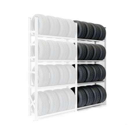Regał na opony 250x40x150 dostawny, 4 poziomy składowania